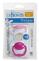 Пустышка ортодонтическая Dr. Brown's Perform™ 2 шт./уп., 6-18 мес. розовая