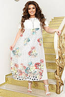 Платье женское с шифоновой юбкой больших размерах