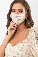 """Женская текстильная маска молочного цвета с узором """"Полевые цветы"""""""