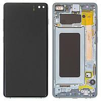 Дисплей для Samsung G975 Galaxy S10 Plus, зелений, з сенсорним екраном, з рамкою, оригінал, service pack box,