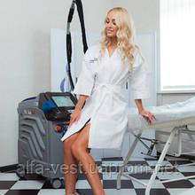 Брендований халат з Вашим логотипом унісекс Luxyart з Вашим логотипом, 100% бавовна, білий (LS-03119)