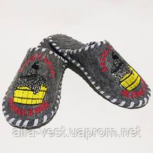 """Тапочки для будинку і лазні повстяні Luxyart з вишивкою """"Козак в лазні"""" (GA-03)"""