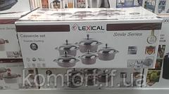 Набор кастрюль LEXICAL LG-141001-2 гранитное покрытие, 5 кастрюль с крышками 20/24/28/28/32 см, фото 3