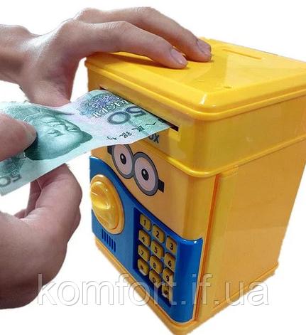Дитяча електронна скарбничка сейф з кодовим замком і купюропріємником Міньйон, фото 2