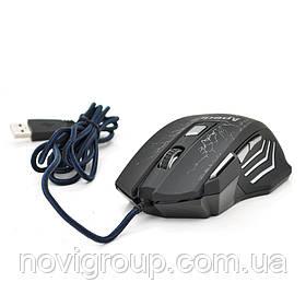 Миша дротова Apedra A7, 7 кнопок, 800/1200/2400/3200 DPI, Led Lighting, 1,3 м, Win7 / 8/10 Mac OS, Black,