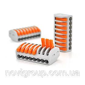 Клема з нажимними затискачами 8-дротова WAGO K222-418 для розподільних коробок, 8-pin, сіро-помаранчева
