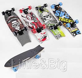 Скейт деревянный светящиеся колеса ЧЕРНО-ЗЕЛЕНЫЙ арт. 32026