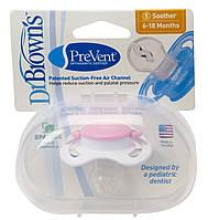 Пустышка ортодонтическая Dr. Brown's PreVent® 6-18 мес. розовая