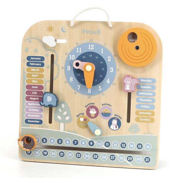 Деревянный календарь Viga Toys PolarB с часами, на английском языке (44056)