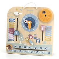 Деревянный календарь Viga Toys PolarB с часами, на английском языке (44056), фото 1