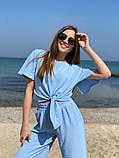 Модный летний женский костюм американский креп жатка 42-44, 46-48 лиловый, белый, голубой, темная пудра, фото 4