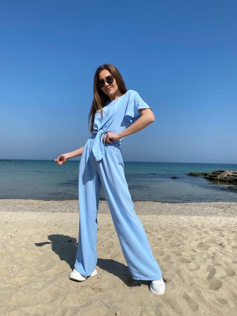 Модный летний женский костюм американский креп жатка 42-44, 46-48 лиловый, белый, голубой, темная пудра