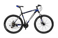 Горный Велосипед CrossBike Leader взрослый колеса 27.5 дюймов, алюминиевая рама 17 дюймов, 15кг - Черный-Синий