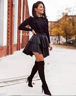 Жіноча стильна коротка спідниця з еко шкіри, фото 1
