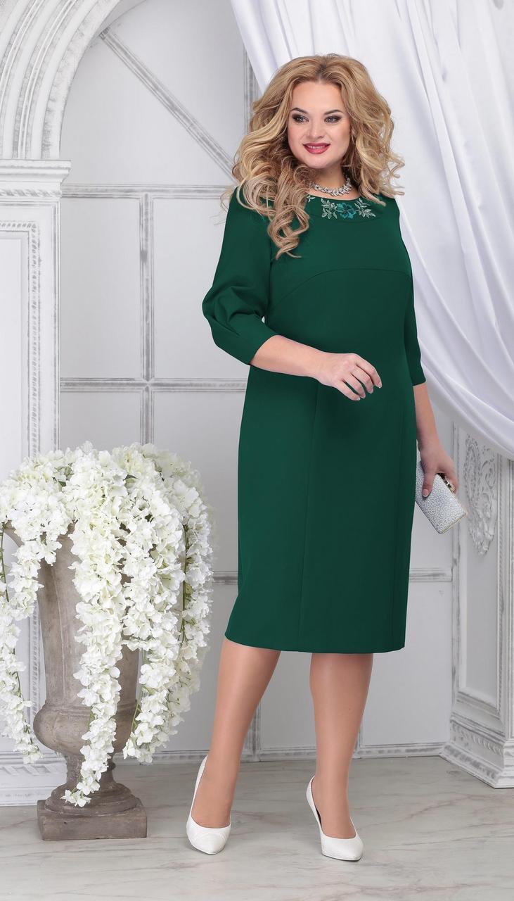 Сукня Ninele-7309/1 білоруський трикотаж, смарагд, 54