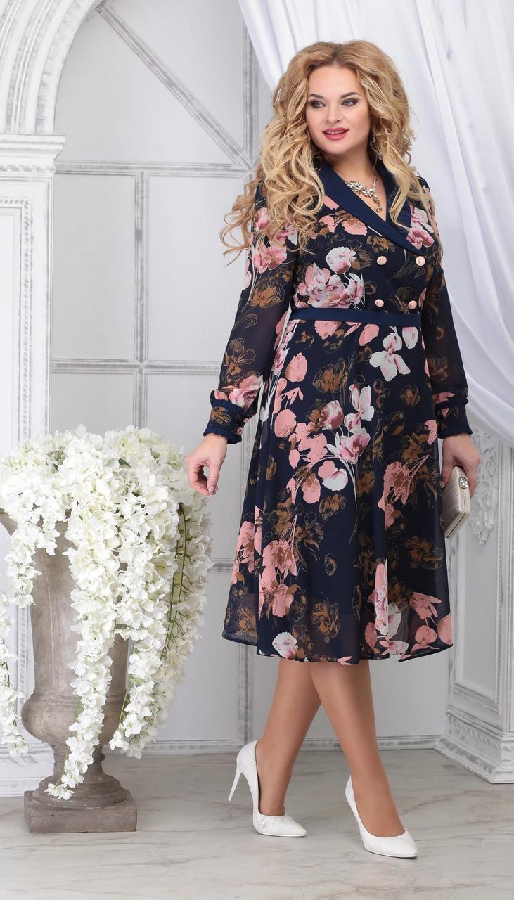 Сукня Ninele-7312/1 білоруський трикотаж, синій + квіти, 48