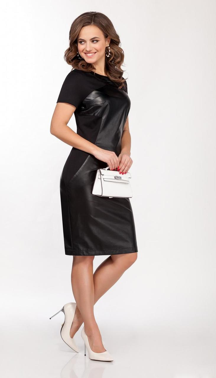 Платье DilanaVIP-1628-1/2 белорусский трикотаж, черный, 44