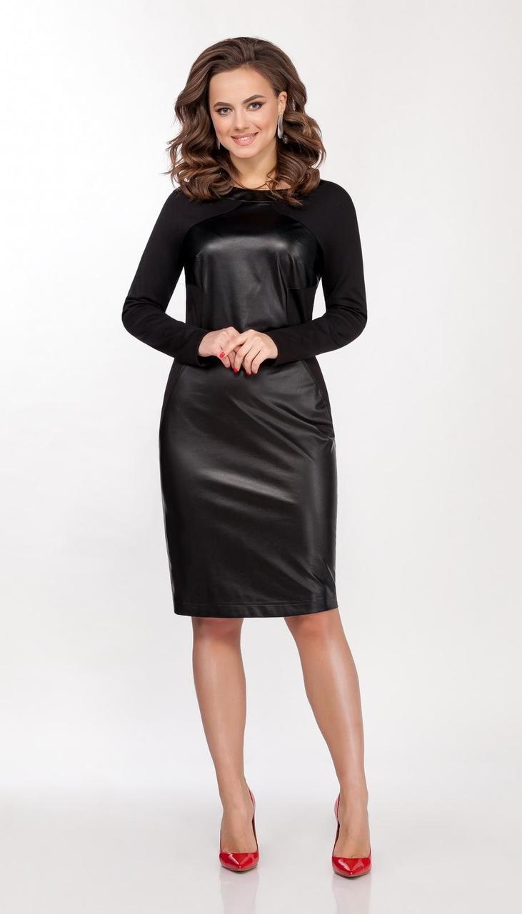 Платье DilanaVIP-1628/2 белорусский трикотаж, черный, 44