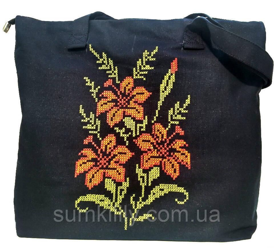 Текстильная сумочка с вышивкой  Шопер 34