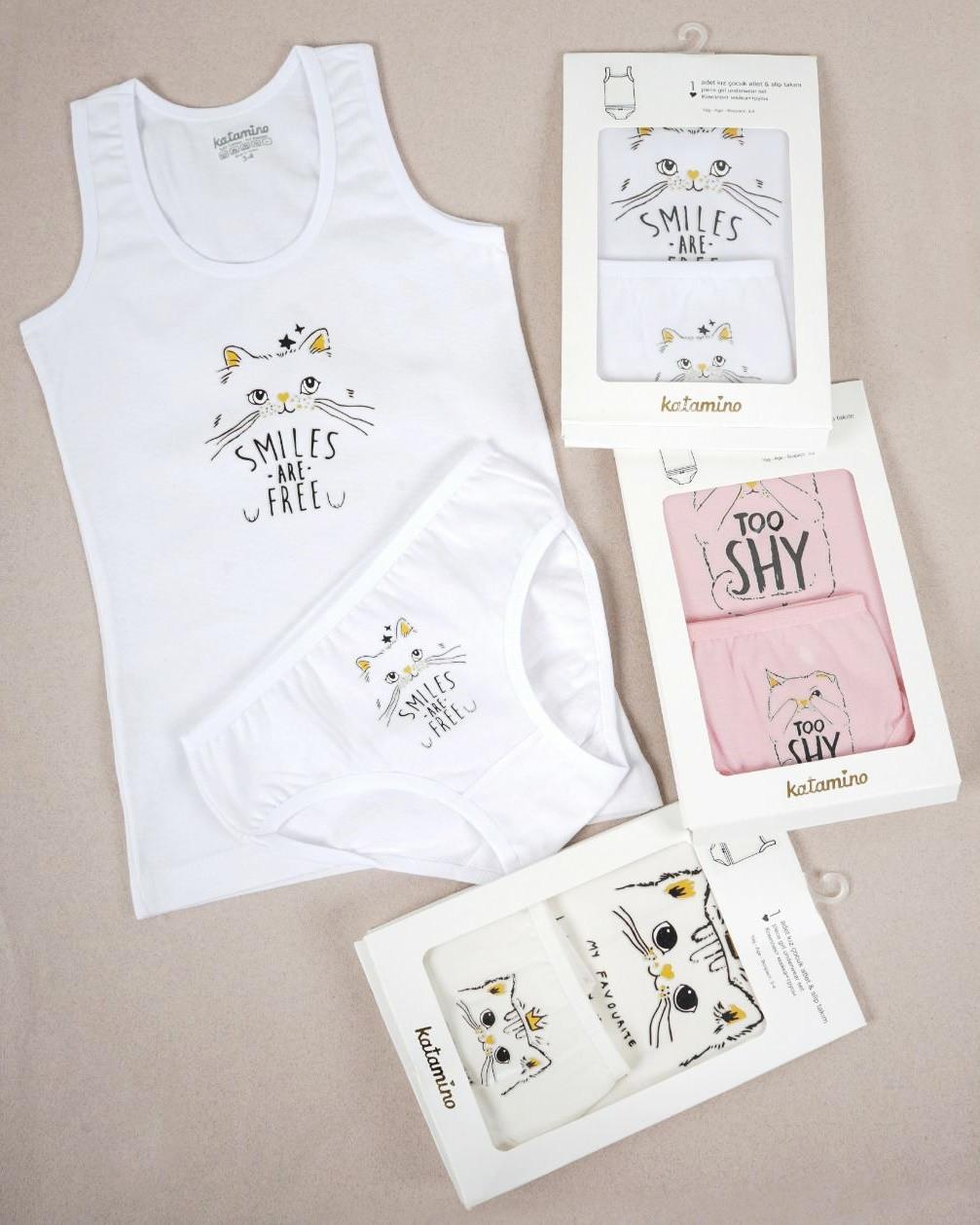 Комплект дитячої білизни: майка та трусики для дівчинки 3-4 років ТМ Katamino