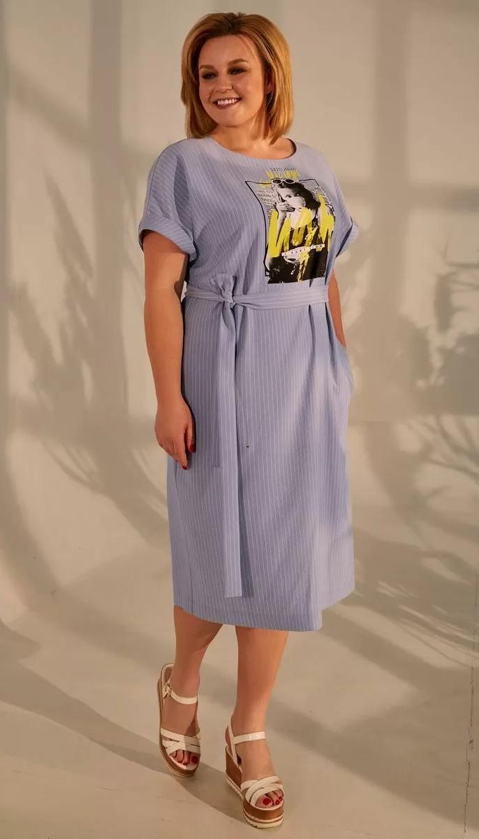 Платье Golden Valley-4680-1 белорусский трикотаж, голубой, 56