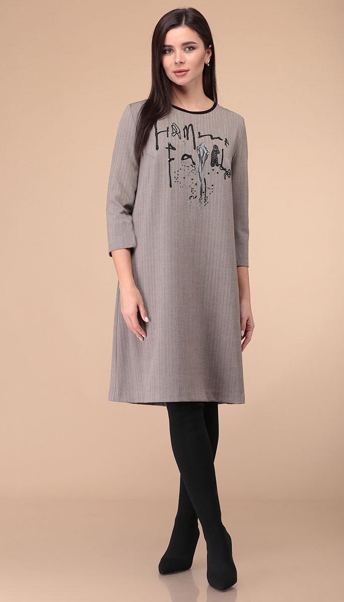Платье Линия-Л-Б-1850 белорусский трикотаж, серый, 48