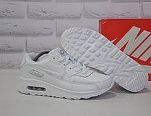 Чоловічі білі шкіряні кросівки в стилі Nike Air Max 90