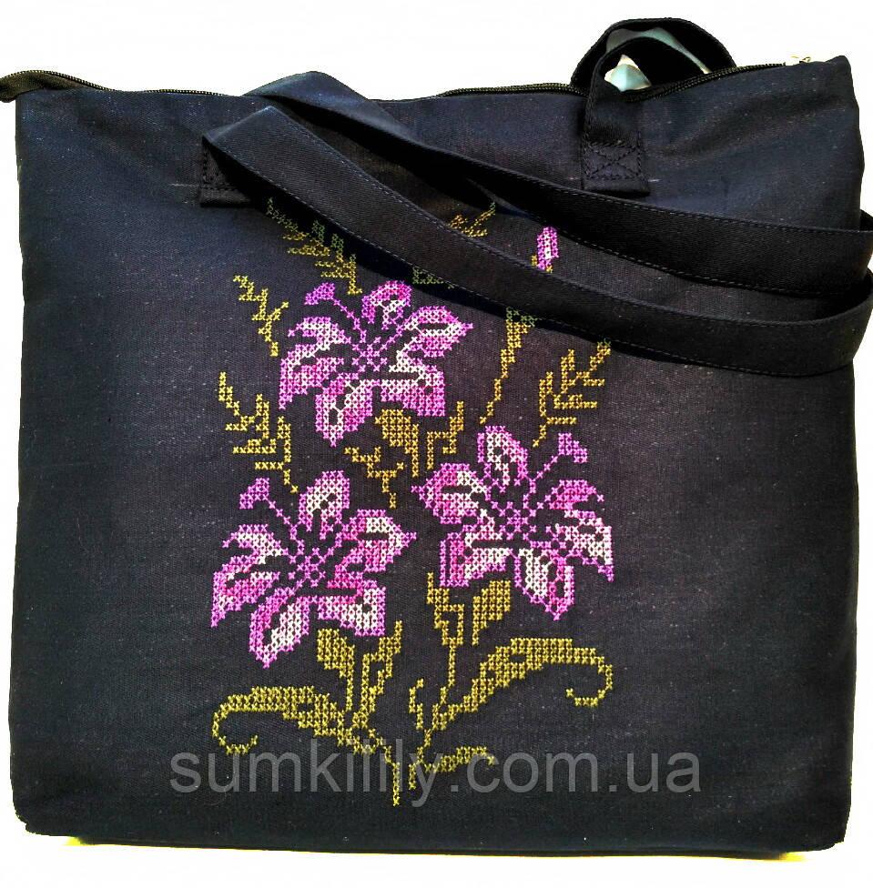 Текстильная сумочка с вышивкой  Шопер 37
