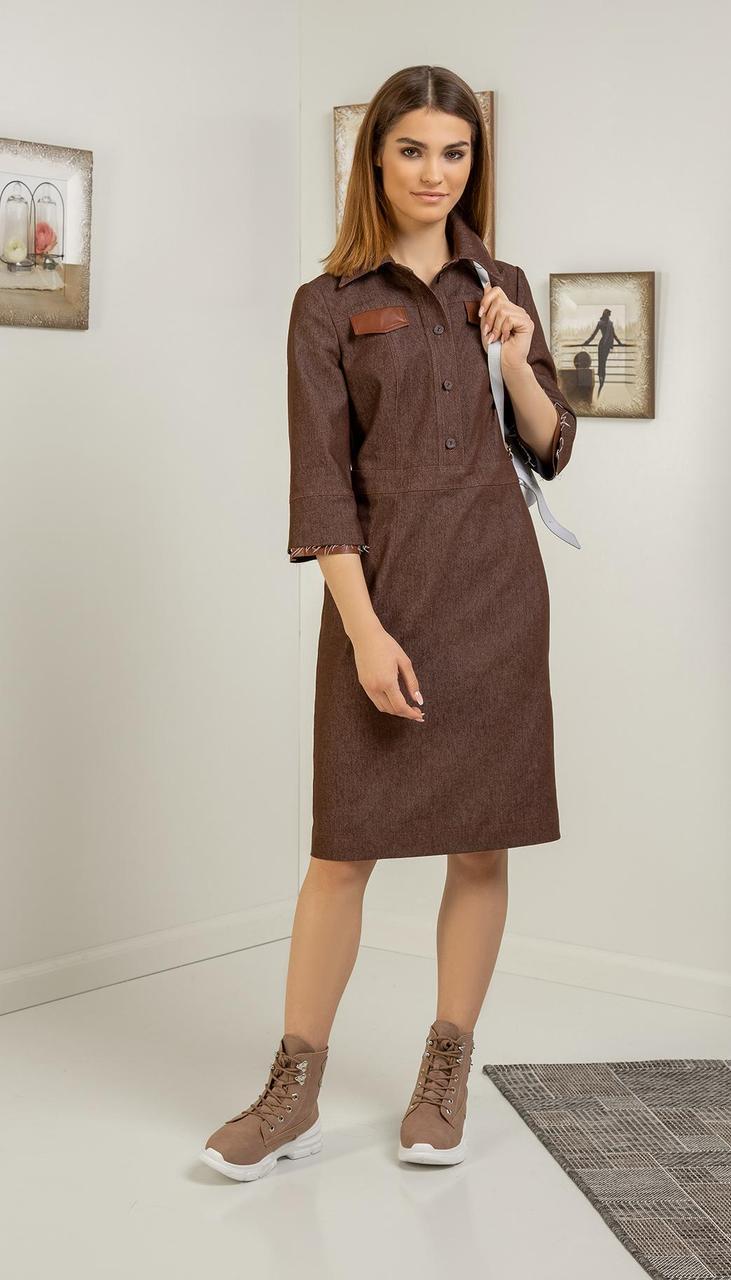 Платье Samnari-Т-119/1 белорусский трикотаж, коричневый, 44