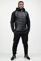 Спортивный костюм мужской теплый зимний c капюшоном черный