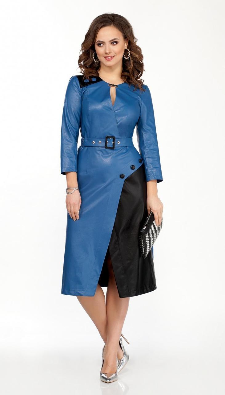 Сукня TEZA-2024/1 білоруський трикотаж, блакитний + чорний, 44
