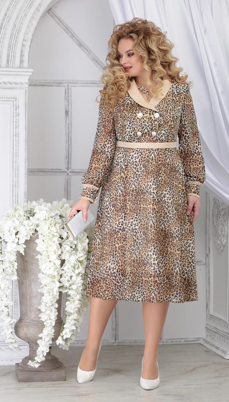Платье Ninele-7312/2 белорусский трикотаж, леопард, 48