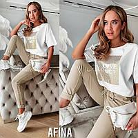 Женский стильный костюм двойка футболка и штаны Батал, фото 1