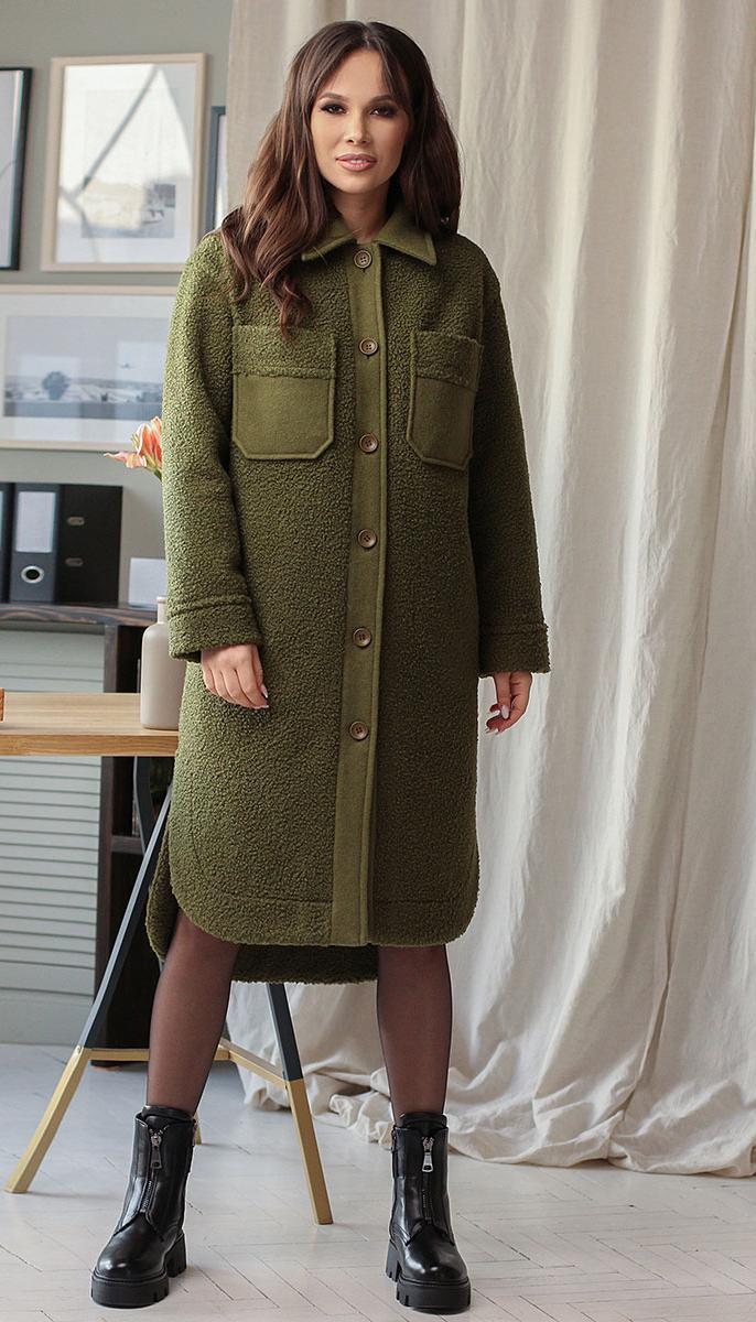 Пальто Мода-Юрс-2633 белорусский трикотаж, хаки, 46