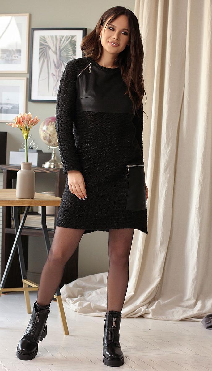 Платье Мода-Юрс-2640 белорусский трикотаж, черный, 48