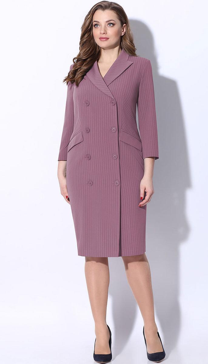 Платье LeNata-11046/1 белорусский трикотаж, лиловый в полоску, 50