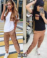Женский стильный костюм двойка футболка и штаны Норма, фото 1