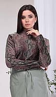 Джемпер КаринаДелюкс-В-391Д белорусский трикотаж, зелено-коричневый, 44, фото 1