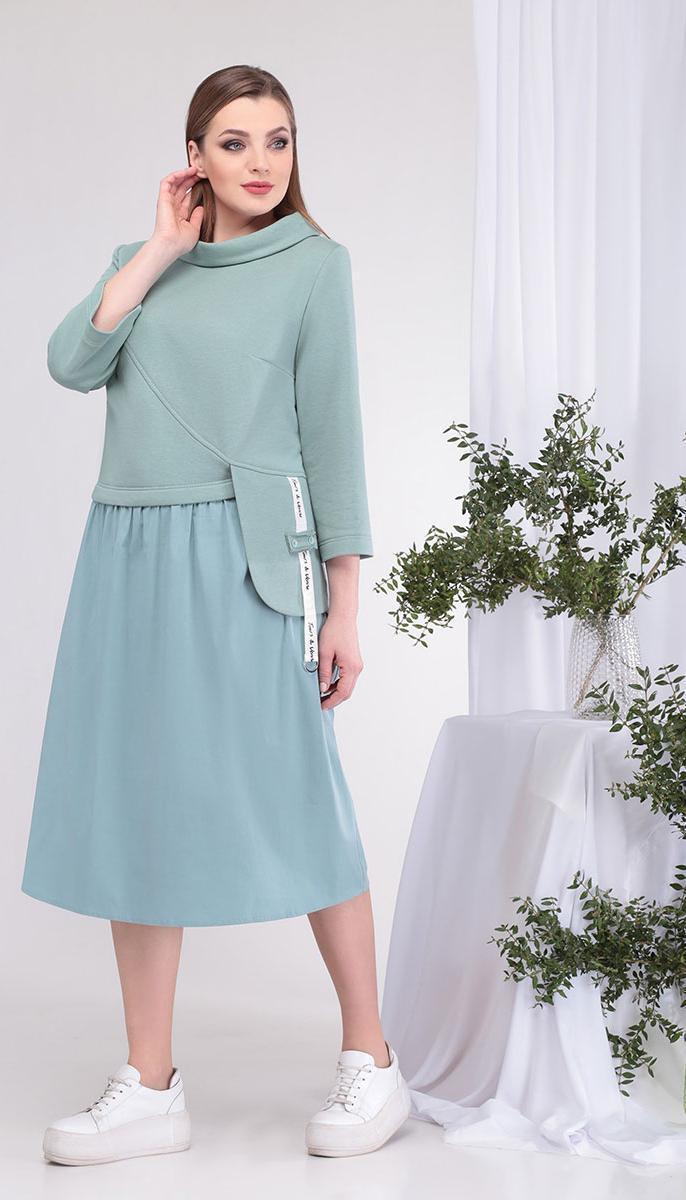 Платье КаринаДелюкс-В-388  белорусский трикотаж, мятный, 54
