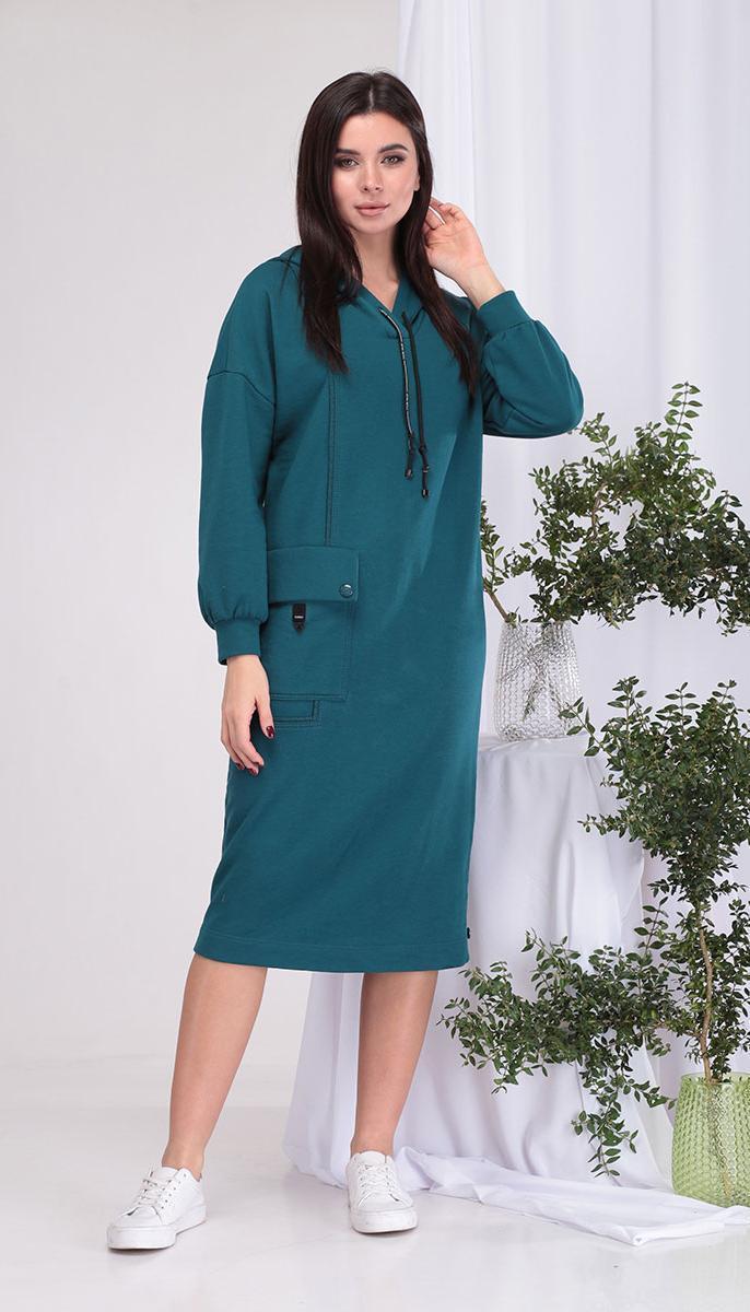 Сукня КаринаДелюкс-В-389 білоруський трикотаж, синьо-зелений, 50