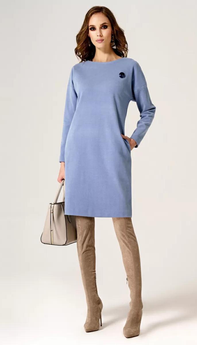 Сукня Пріоритет-24480z/3 білоруський трикотаж, блакитний, 42