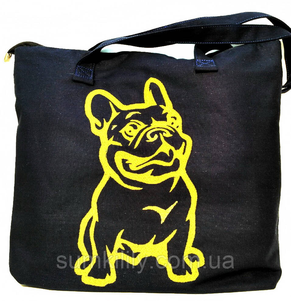 Текстильна сумка з вишивкою Шопер 40