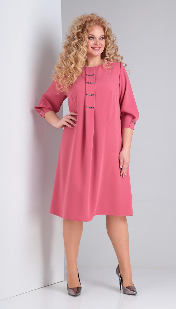 Платье Ксения стиль-1849 белорусский трикотаж, розовый , 58
