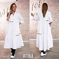 Женское расклешенное макси платье с длинным рукавом Батал, фото 1