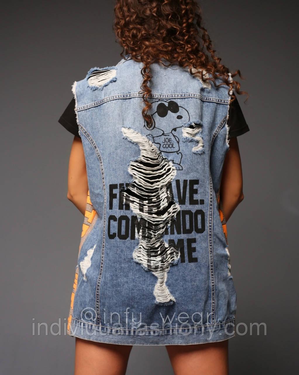 Удлиненная джинсовая жилетка Snoopy женская безрукавка с принтом