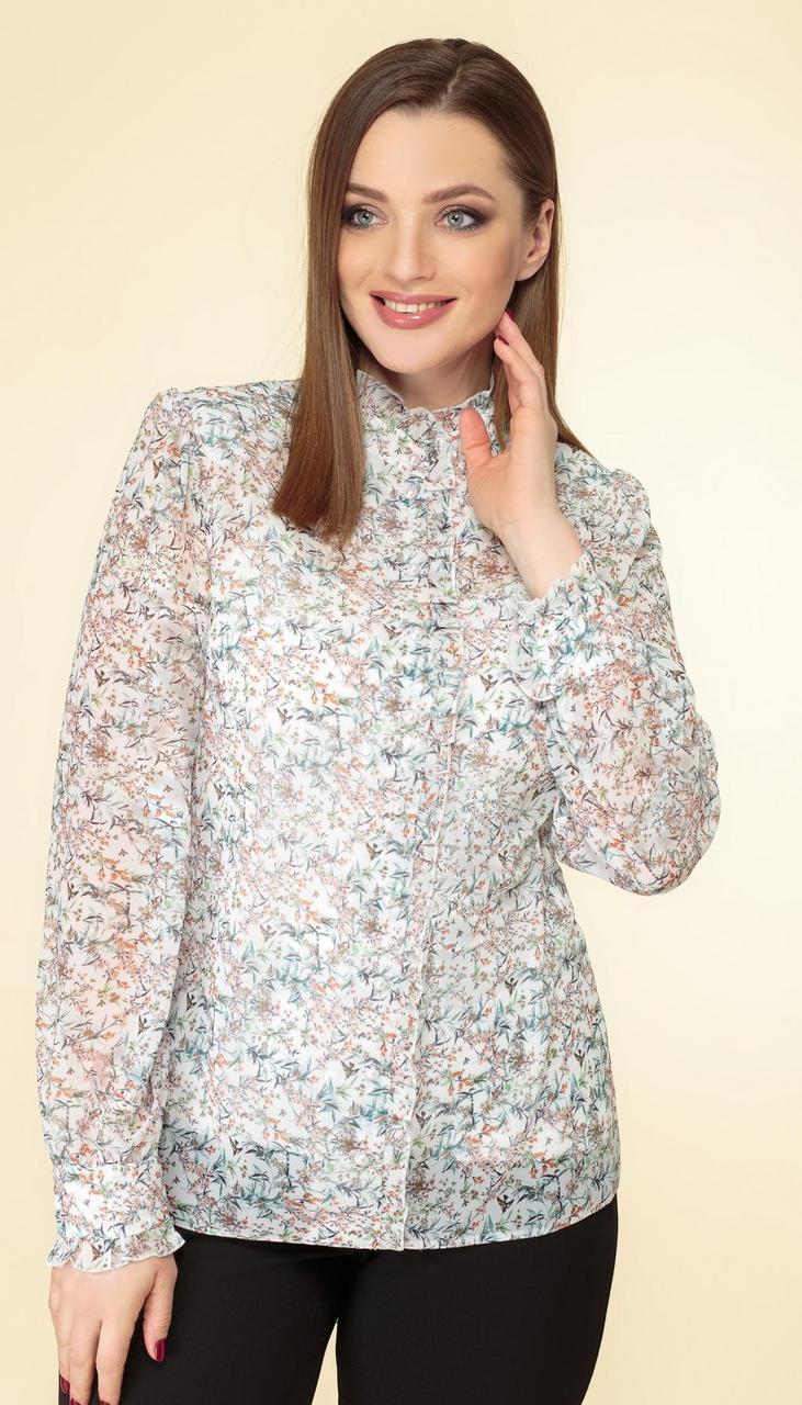 Блузка Дали-3467 белорусский трикотаж, цветочки, 48
