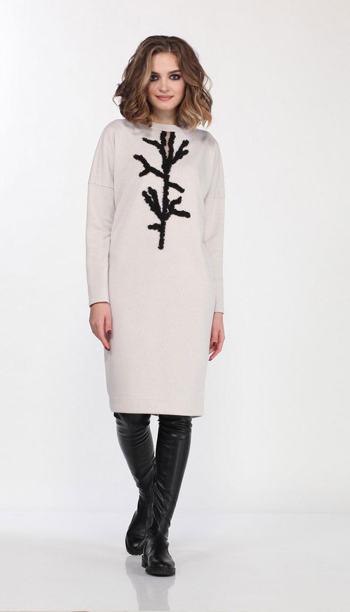 Платье Olegran-3685/1 белорусский трикотаж, молочный, 44