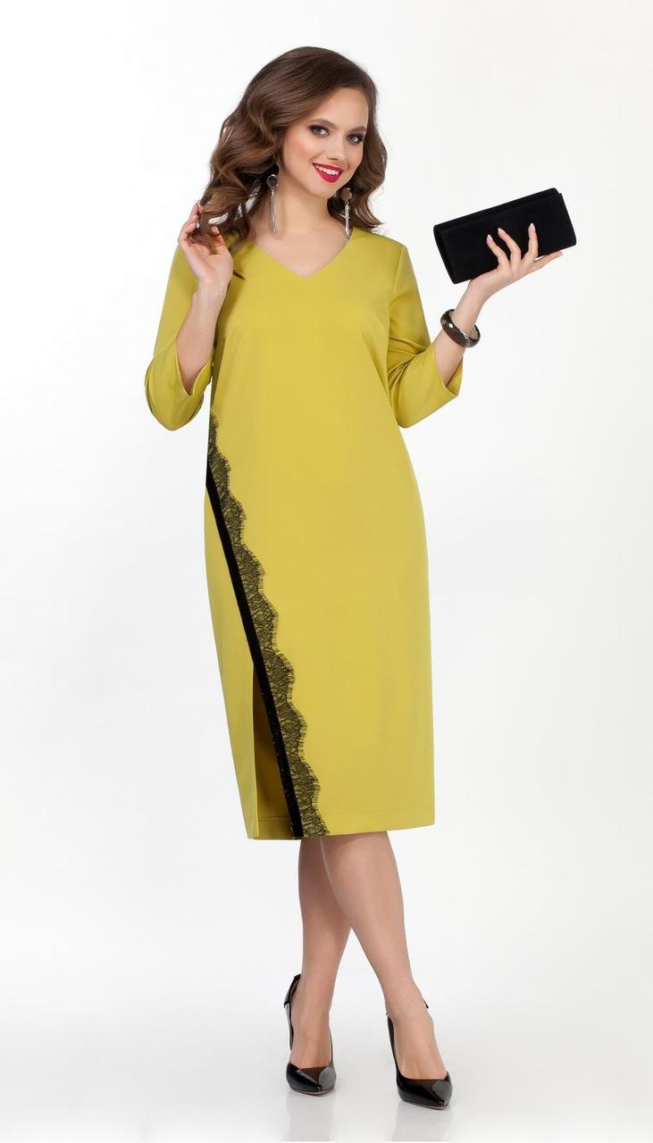 Платье TEZA-2066/1 белорусский трикотаж, желтый, 48