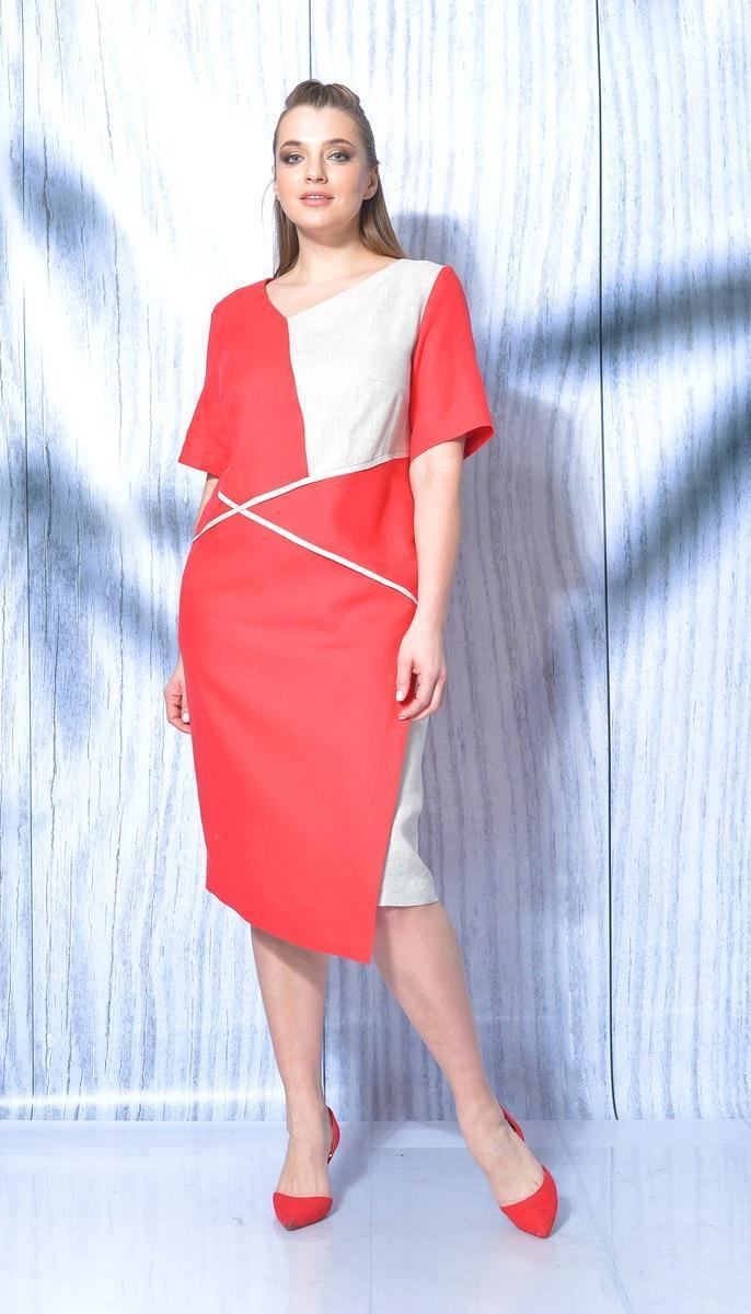 Платье Mali-419-025 белорусский трикотаж, красный + белый, 50