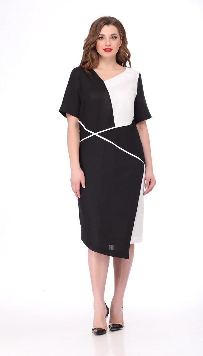 Платье Mali-419-025/1 белорусский трикотаж, черный + белый, 50
